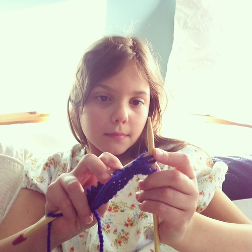 Twin B learning how to knit. #knitting #homeschooling #handmade