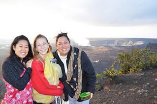 Nina, Alexa, and Kanani at Halema'uma'u crater