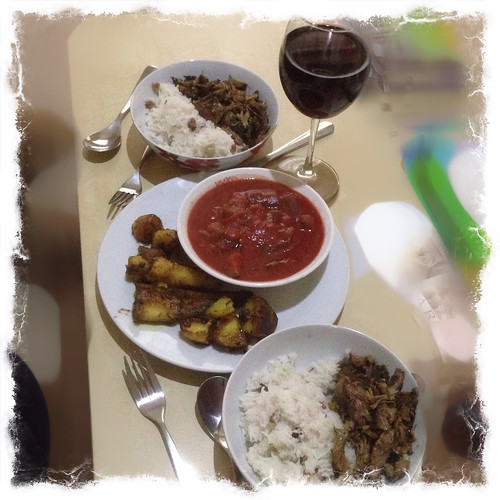 Spicy Lamb.  Roast Parsnips. Roast Potatoes.  Coconut and Sultana Basmati Rice. Aubergine and Tomato.