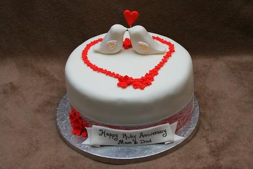 8th Wedding Anniversary Cake Ruby Wedding Anniversary Cake