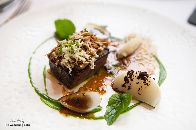Short rib of Red Ruby Beef with salt baked turnips, grilled onion & English wasabi