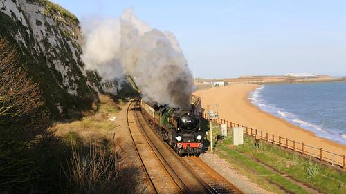 "34046 ""Braunton"", The Golden Arrow"", Shakespeare Beach, Dover, Kent"