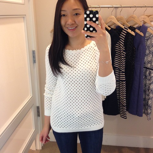 Scalloped Neck Cotton Sweater