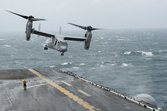 An MV-22 Osprey takes off from the flight deck of USS Bonhomme Richard (LHD 6) during search and rescue operations April 19. (U.S. Navy/MC2 Adam D. Wainwright)