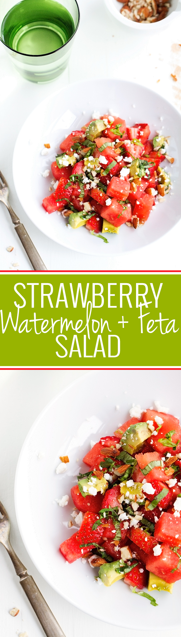 Strawberry Watermelon Feta Salad - The MOST refreshing salad that's perfect to serve for the 4th of July! #4thofjuly #watermelon #watermelonsalad #watermelonfetasalad | Littlespicejar.com