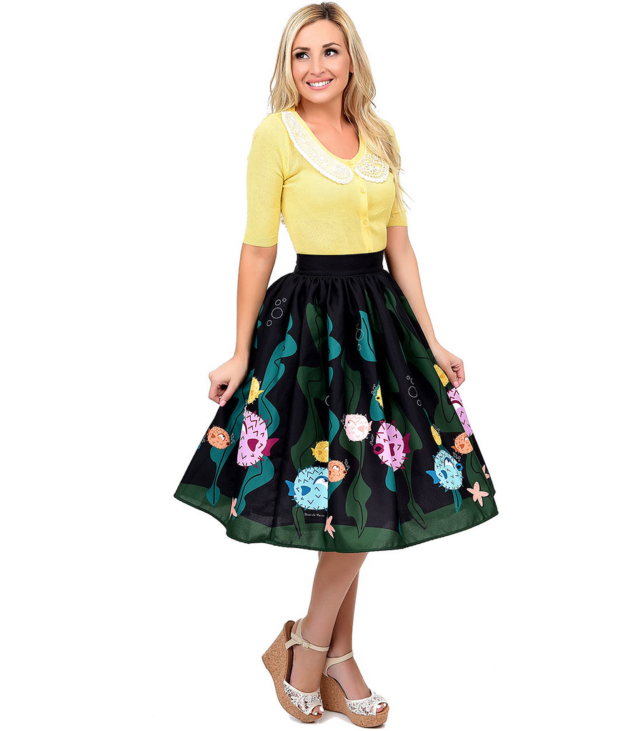 rjeKUulswG_1950s_Style_Black_Green_High_Waist_Puffer_Fish_Swing_Skirt