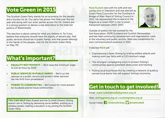 Flyer for Mark Ruskell, Scottish Green Party candidate for Stirling.