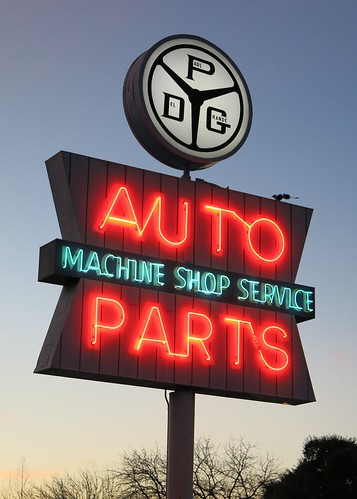 PDG Auto Parts Sign - Side View - Campbell, Calif.