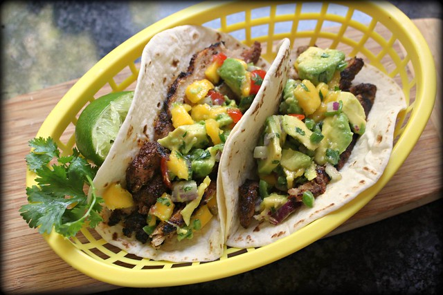 Grilled pork soft tacos with spicy avocado mango salsa recipe