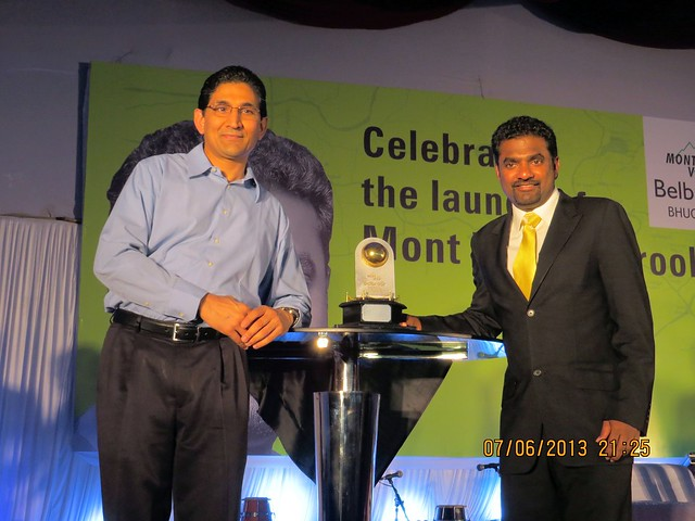 "Mr. Manish Kaneria, Director, Mont Vert with ""Golden Ball"" & Murali - Muthiah Muralidaran - at Mont Vert Belbrook, Bhugaon, Pune 411042"