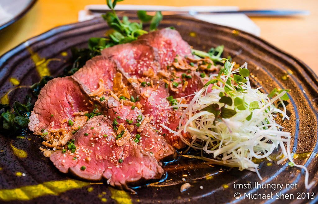 Kuki tanuki Wagyu roast beef tataki - thinly sliced wagyu strips w/ponzu dressing