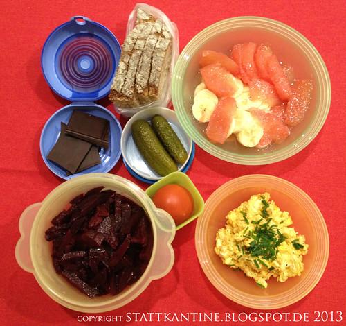 Stattkantine 14. März 2013 - Obatzda, Rote-Beete-Salat, Roggenschrotbrot