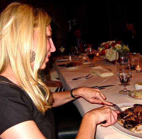 chef's wife Nikki digs into the ribeye