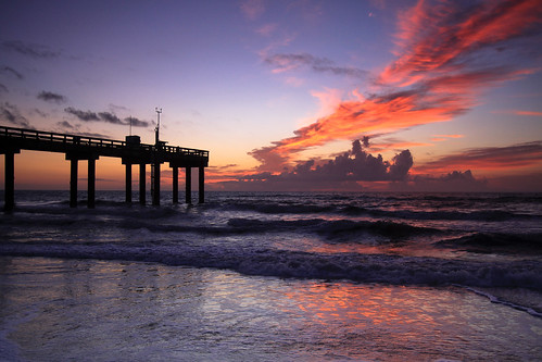 ocean reflection water silhouette clouds sunrise pier surf day waves florida cloudy atlanticocean staugustine stjohnspier
