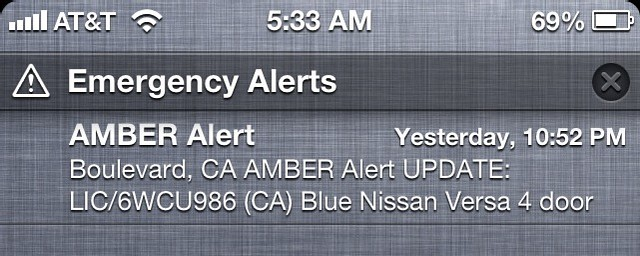 Amber Alert Notification
