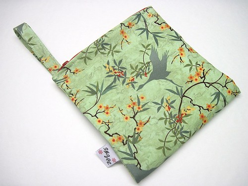 Cranes on Green Mama Wet Bag New Style