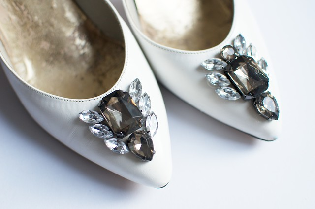 a pair and a spare rhinestone heels