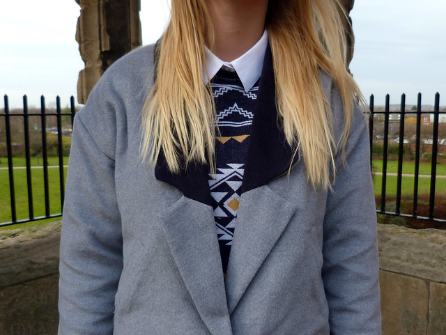 Close up detail of lapels and aztec print | Outfit post
