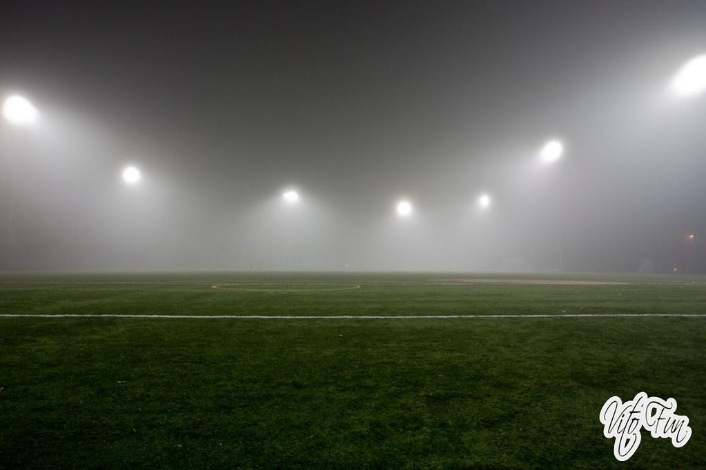 Empty Soccer Field Night Soccer Field Stadium at Night