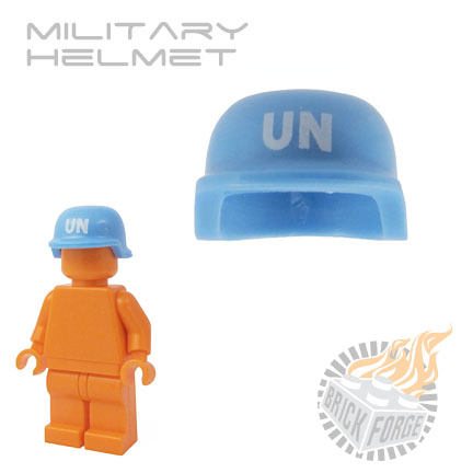 Military Helmet - Medium Blue (white UN print)