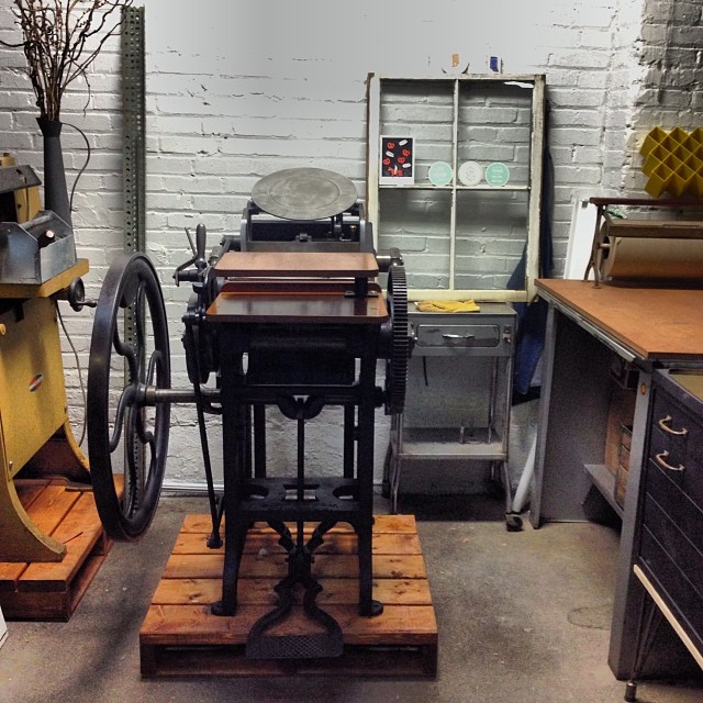 So lucky to have this place. Love my little studio. #letterpress