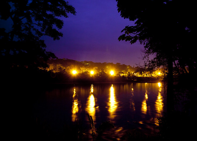 Lights over the Rio Napo at night