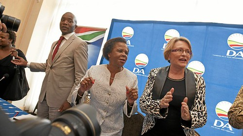 Dr. Mamphele Ramphele and Helen Zille after the merger of Agang with the Democratic Alliance (DA). The ruling African National Congress (ANC) says Ramphele is a 'rent-a-black-face for the DA. by Pan-African News Wire File Photos