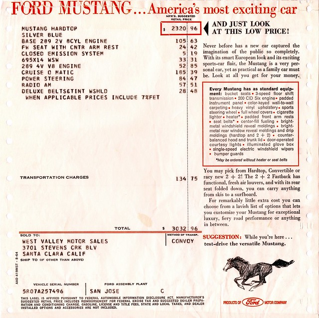 Ford 1965 Mustang >> 1965 Ford Mustang Hardtop Window Sticker | Flickr - Photo Sharing!