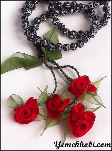 tesbih modelleri süslü tesbih Kırmızı Kadife kırmızı Gül kadife kurdele kadife gül hediyelik tesbih çiçekli tesbih