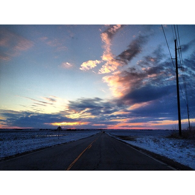 Out Over the Horizon #sunset #prairie #road #clouds #sky