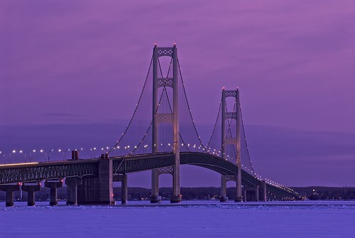 longexposure bridge winter snow ice water night lights frozen twilight unitedstates michigan towers lakemichigan greatlakes infrastructure bigmac upperpeninsula suspensionbridge i75 lakehuron mackinacbridge stignace lightstreak mackinaw mdot 10seconds straitsofmackinac tollbridge northernmichigan interstate75 mackinawcity michigandepartmentoftransportation mackinaccounty lowerpeninsula mightymac colorefex tonalcontrast bridgeviewpark mackinacbridgeauthority goldnbluepolariser
