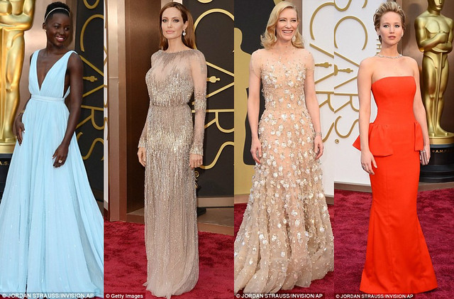 Who wore what at Oscar awards, Valentino gowns, Naeem Khan Pre-fall 2014 collection, Jason Wu gown, Gucci halter neck dress, Salvatore Ferragamo clutch, Brian Atwood heels, Oscar de la Renta silver fringe dress, Vera Wang pewter glittering gown