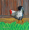 Spring Chicken - beaded Wyandotte Rooster painting