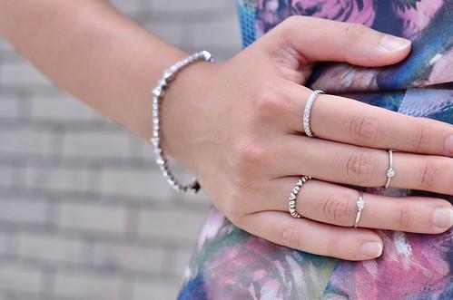 Sterling silver midi rings