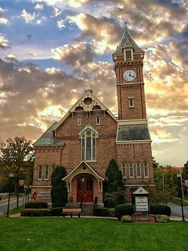 "county york travel sunset sky ny building tower clock church architecture clouds canon town us village district united small gothic historical methodist marcellus ""new "" nrhp onasill canons95 ""onondaga"