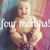 Four months! 16ish pounds, nine month clothes, rolling and rolls and belly laughs all day. ♡ #sweetclarajean