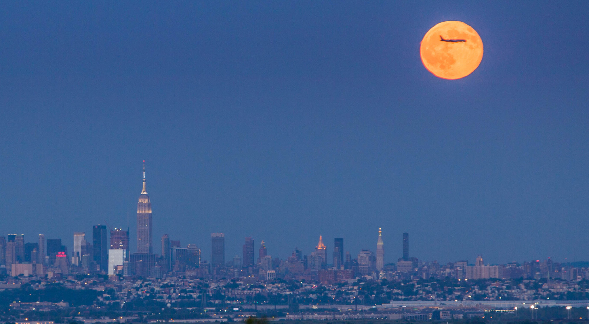 Blue Moon rising over New York City 2015