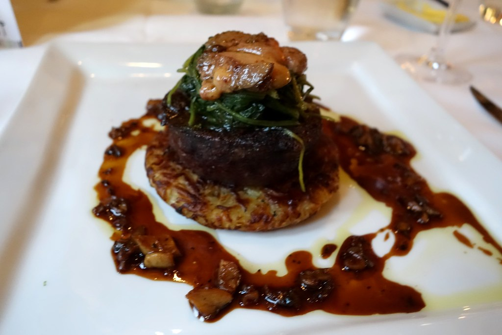 Russell's Restaurant - Tournedos Rossini, Aged Fillet of Aberdeen Angus Beef, Crisp Potato & Parsnip Rosti, Seared Foie Gras, Baby Spinach, Truffle Oil & Wild Mushroom Jus
