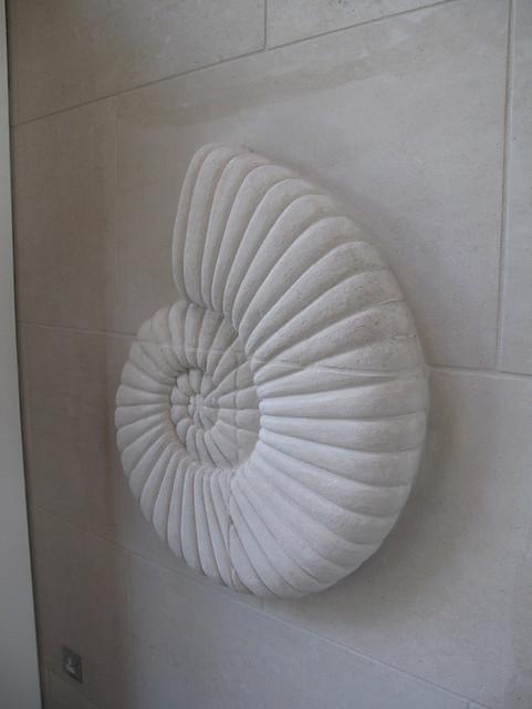 Carved ammonite, Highgate Junior School.