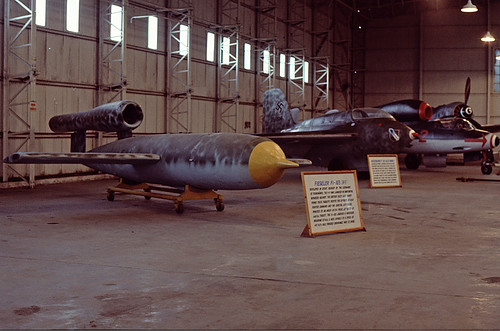 German WW2 Wunderwaffen: V-1, Me-163 , He-162 and FW-190 at RAF St. Athan, Aug. 1978.