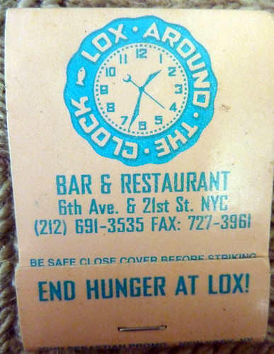 Lox Around the Clock Matchbook Cover