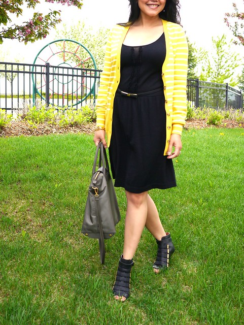 banana republic yellow long sweater - qi cashmere dress - givenchy shoes - prada nylon bag5