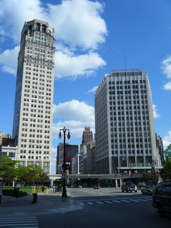 Broderick Tower and David Whitney Building before reconstruction