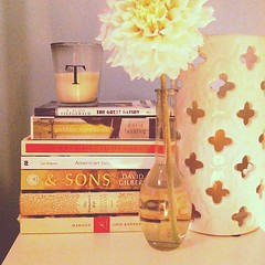 Day 3: on my <nightstand> table... #candles #dahlia #books. #fmsphotoaday #photoaday #photochallenge #bookworm