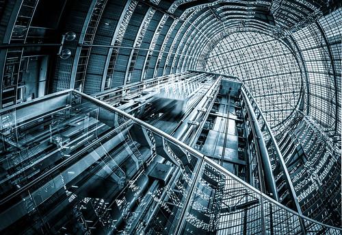 chicago motion glass lines architecture circles patterns elevators helmutjahn thompsoncenter stateofillinoisbuilding cooltone niksilverefexpro2 pattern365