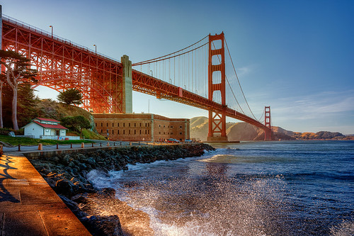 ocean sanfrancisco california bridge sunset sky usa nature water architecture day waves clear trail goldengate fortpoint splash presidio
