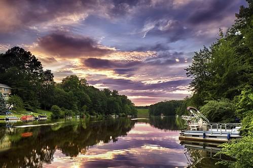 sunset summer lake june clouds boats virginia hdr reston lakeaudubon fairfaxcounty 2013 cloudsstormssunsetssunrises ©catherinehammer