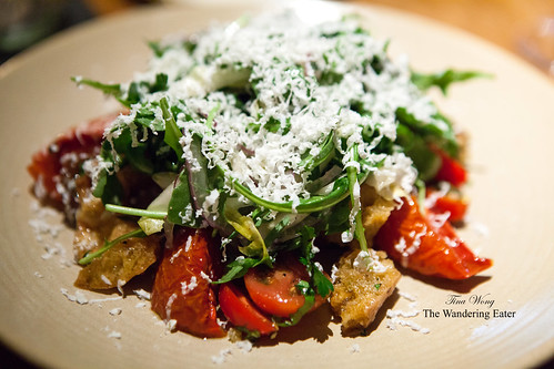 Green Meadow Farm Cherry Tomato Salad, Niçoise Olive Aioli, Torn Bread, Arugula, Ricotta Salata, and Garden Herbs