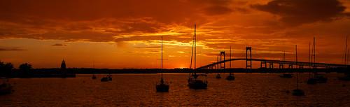 ri bridge sunset sailboat rhodeisland newport newportharbor newportpellbridge