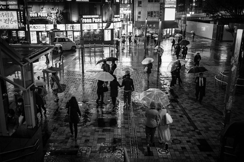 A rainy scene in Shinjuku.